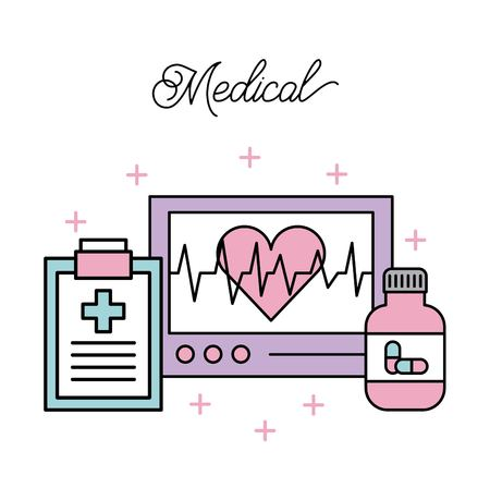 medical medical screen heartbeat clpboard report and bottle medicine vector illustration