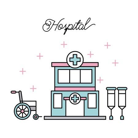 medisch gebouw ziekenhuis krukken rolstoel gehandicapten ziekte vector illustratie
