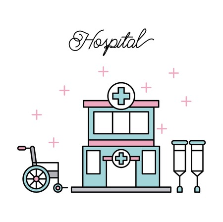 medical building hospital crutches wheelchair disabled illness vector illustration Illustration