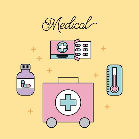 medical treatment support medicine capsule and kit first aid vector illustration