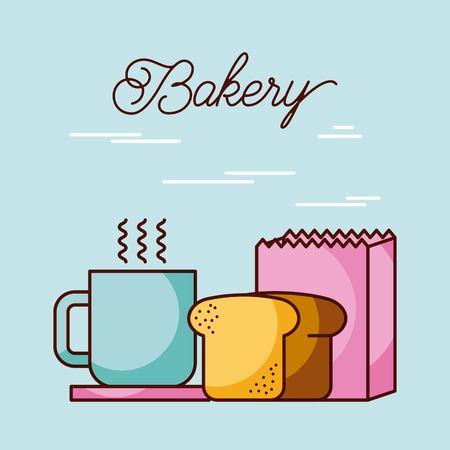 bakkerij brood blad koffie beker en papieren zak vectorillustratie