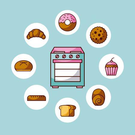 오븐 어플 라 이언 스 부엌 differents 빵 케이크 도넛 벡터 일러스트 레이 션 일러스트