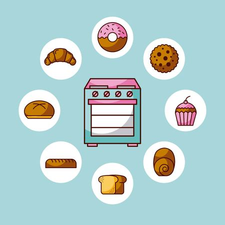 oven appliance kitchen with differents bread cake donut vector illustration