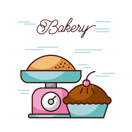 bakery birthday cake and weight scale kitchen equipment vector illustration