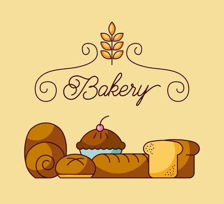 bakery elements product ingredient dessert and pastry food vector illustration Ilustrace