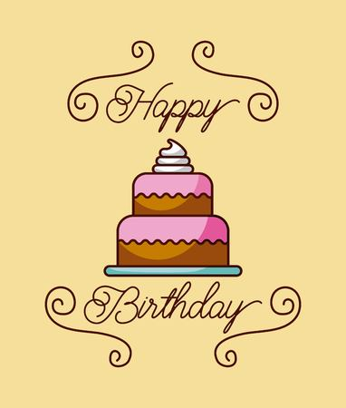 happy birthday cake cream celebration image vector illustration Иллюстрация