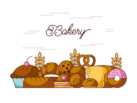 bakery elements product ingredient dessert and pastry food vector illustration 向量圖像
