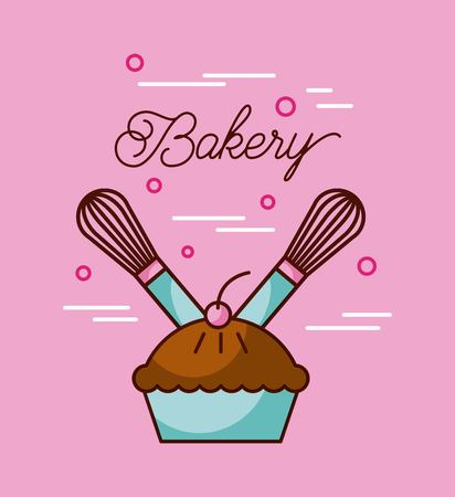 bakery sweet cake and two whisk preparation vector illustration Çizim