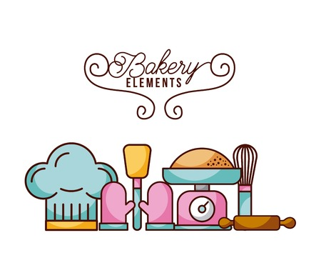 bakery elements scale rolling whisk hat spatula glove vector illustration