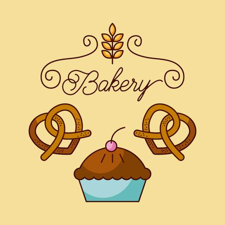 bakery cupcake and pair pretzel food card vector illustration Çizim