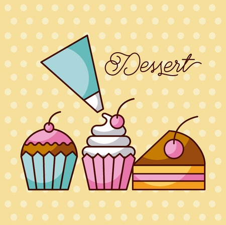 dessert sweet cupcakes and slice cake berry with icing cream bag vector illustration Vectores