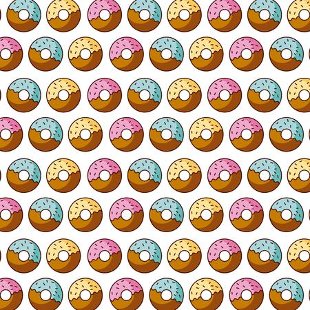 sweet donut dessert pastry seamless pattern vector illustration