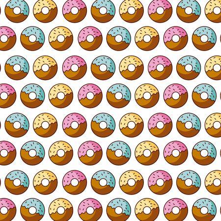 zoete donut dessert gebak naadloze patroon vector illustratie