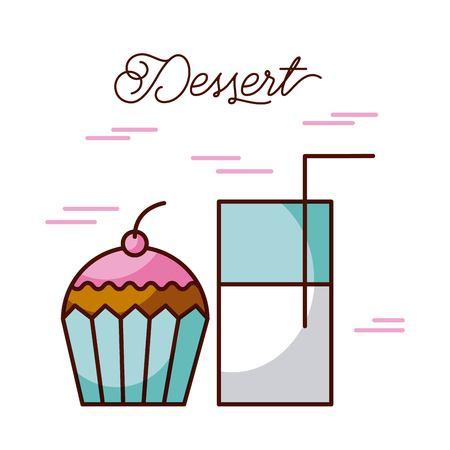 dessert glass milk cup with cupcake sweet cream and berry vector illustration Ilustração
