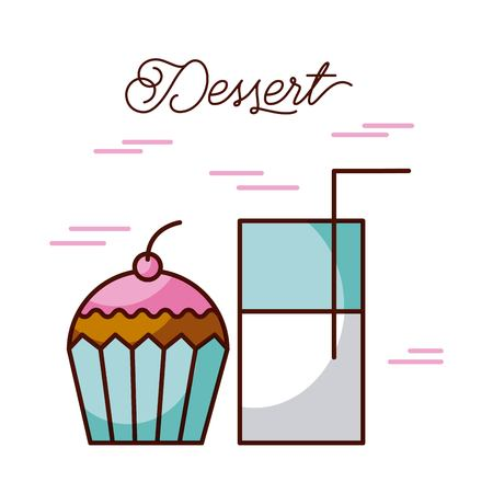 dessert glass milk cup with cupcake sweet cream and berry vector illustration Illustration