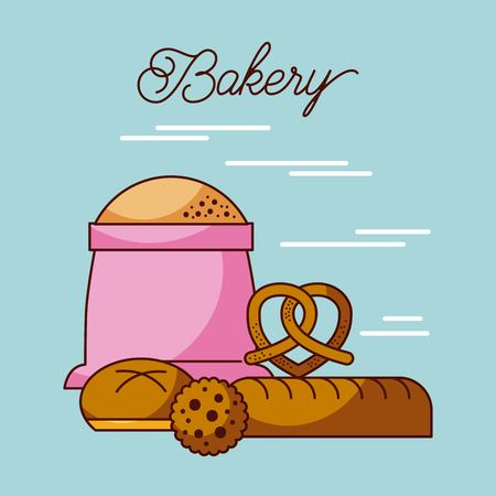 bakery sack of flour with bread cookie and pretzel vector illustration