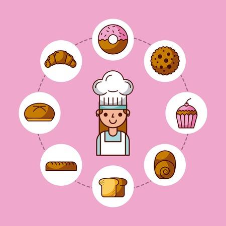 baker girl character with bread cake cupcake donut croissant vector illustration