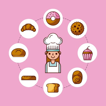 baker girl character with bread cake cupcake donut croissant vector illustration
