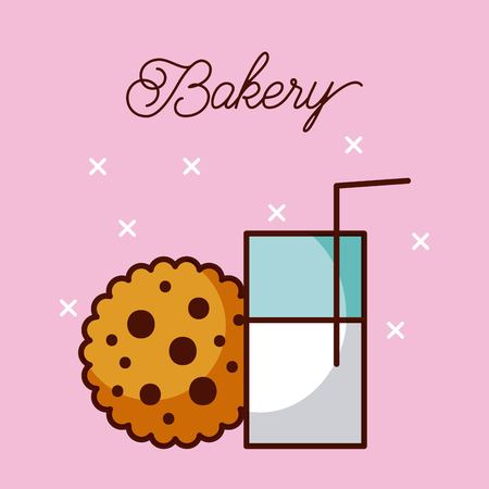 bakery delicious milk glass and chocolate cookie vector illustration