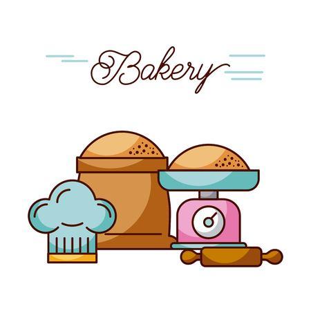 échelle de poids de boulangerie et sac farine rouleau à pâtisserie et chapeau chef illustration vectorielle Vecteurs