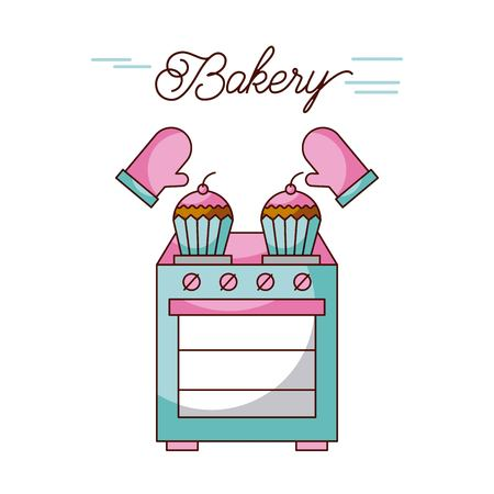 bakery oven appliance cupcakes and potholders vector illustration