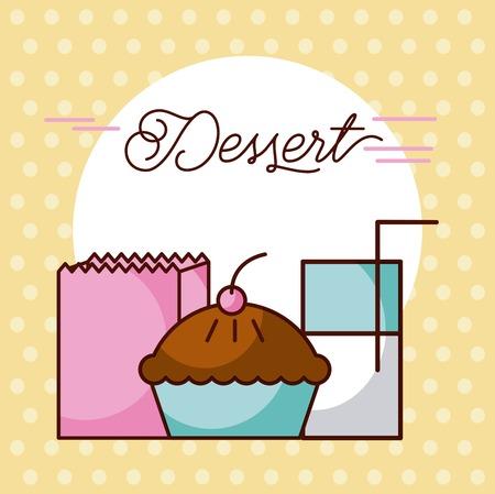 dessert cake milk glass and paper bag vector illustration