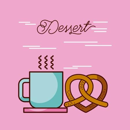 ホット デザート コーヒー カップとプレッツェルのベクトル イラスト  イラスト・ベクター素材