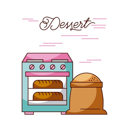 bakery stove oven with two hot bread sack flour vector illustration