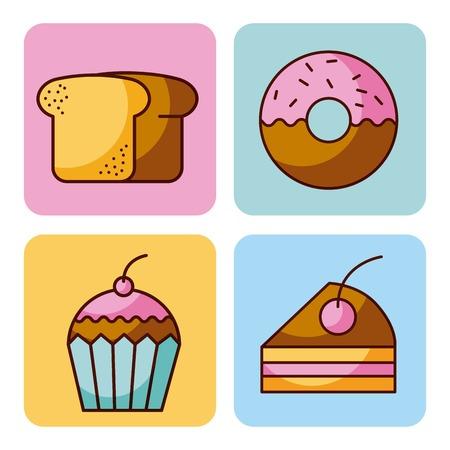Satz der Bäckereidessert-Kuchen-Donutbrot-Kuchen-Vektorillustration Standard-Bild - 90065105