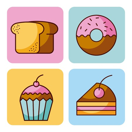 set of bakery dessert cupcake donut bread cake vector illustration