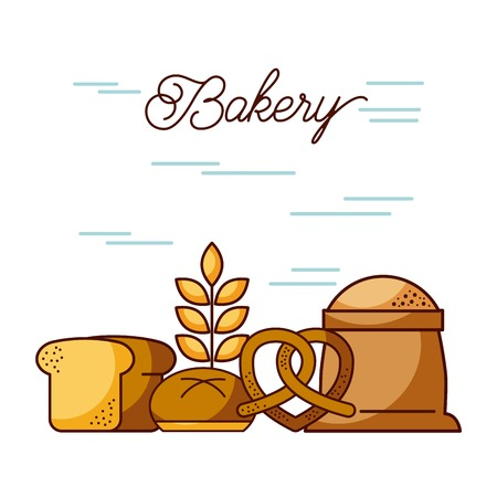 bakery sack of flour bread wheat pretzel vector illustration