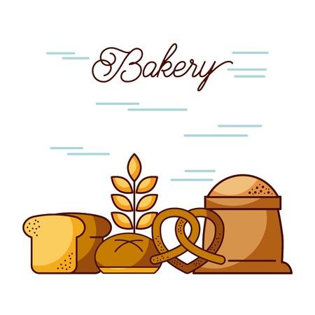 bakery sack of flour bread wheat pretzel vector illustration