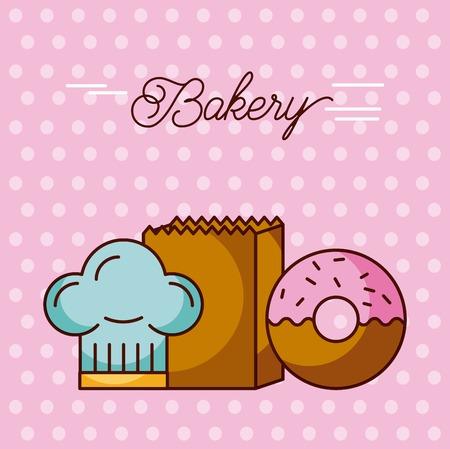 ベーカリー甘いドーナツ帽子シェフ、紙袋のドット背景ベクトル イラスト  イラスト・ベクター素材