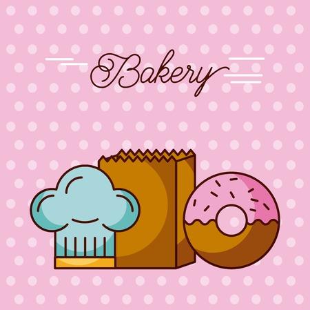 bakery sweet donut hat chef and paper bag dots background vector illustration Banco de Imagens - 90065107