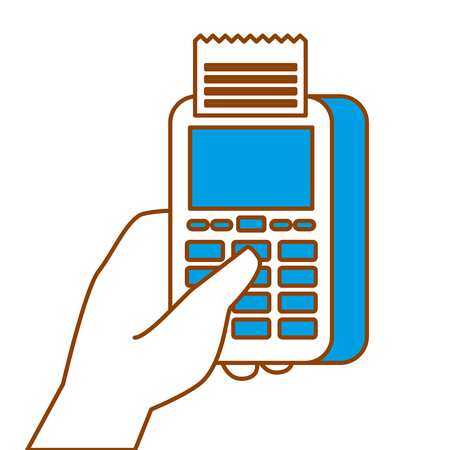 hand holding dataphone payment mobile concept vector illustration