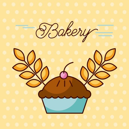 bakery sweet cake berry and wheat grain design vector illustration