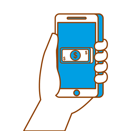 hand holding smartphone banknote money payment online vector illustration