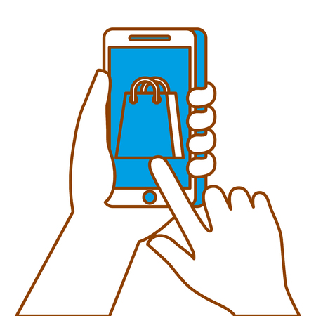 hand holding smartphone shopping bag ecommerce online vector illustration Illustration