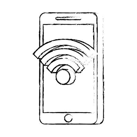 mobile phone wireless internet online app technology vector illustration