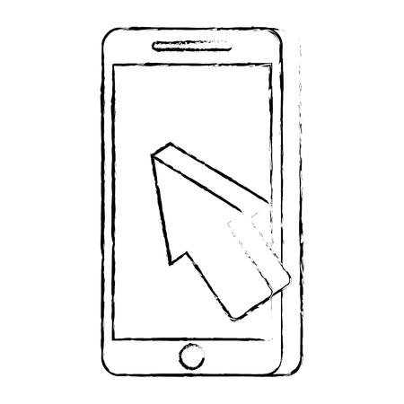 휴대 전화 지불 온라인 화살표 커서 기술 벡터 일러스트 레이션