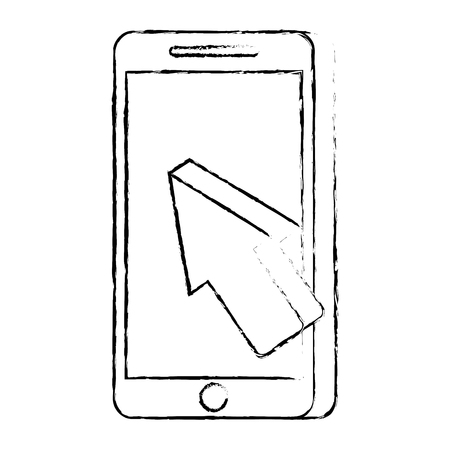 mobile phone payment online arrow cursor technology vector illustration
