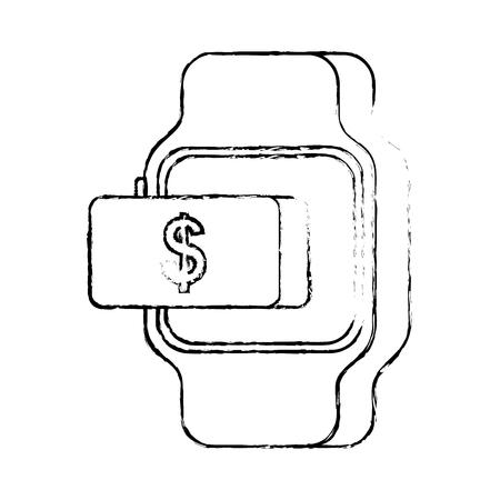 Paiement utilisateur ligne argent bouton vecteur illustration Banque d'images - 90069228