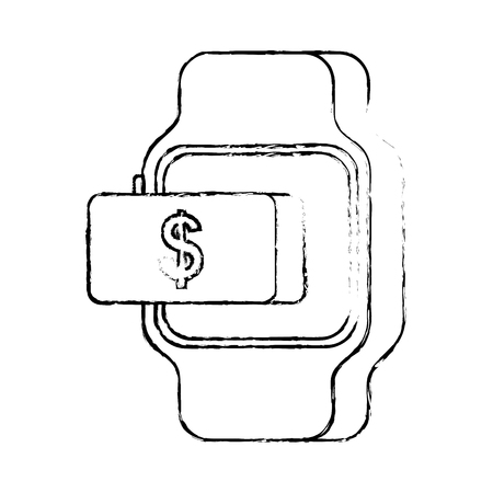 smartwatch payment money online button vector illustration