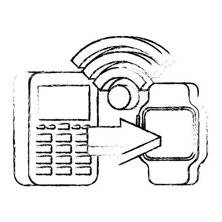 Mobile payments transaction vector illustration