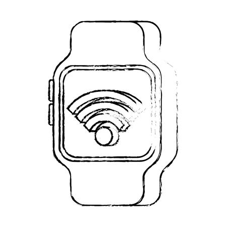 nfc smartwatch wireless connection internet technology vector illustration