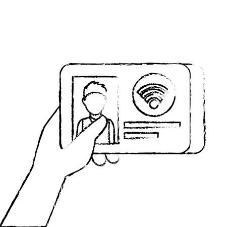 hand holding id card document wireless internet technology vector illustration