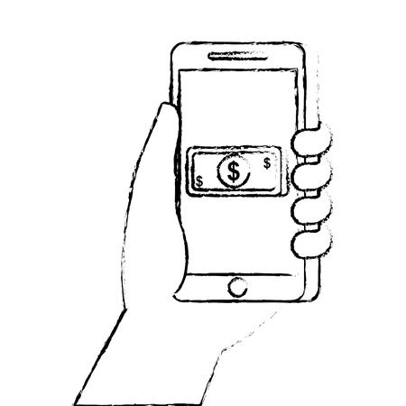 Hand holding smartphone with banknote vector illustration Ilustração