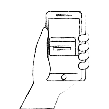 Hand holding smartphone with credit card vector illustration