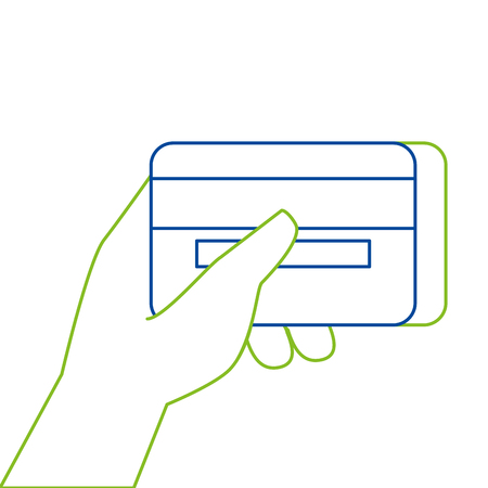 Hand holding credit card vector illustration Illustration