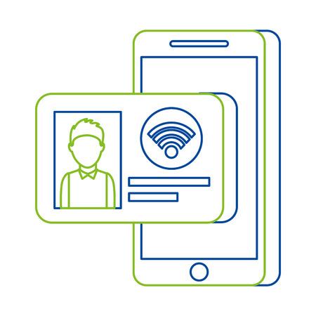Mobiele telefoon met identiteitskaart kaart internet online technologie vectorillustratie